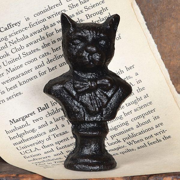 HomArt Cast Iron Cat Bust Statue