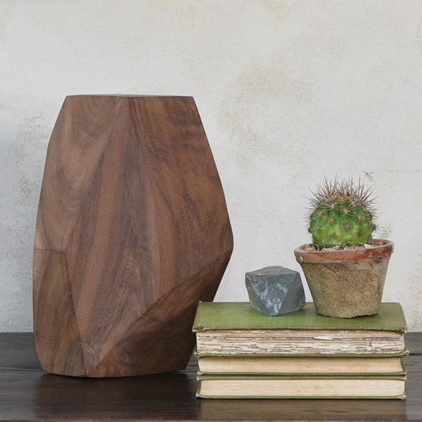 """HomArt Faceted Wood Object - 10"""""""