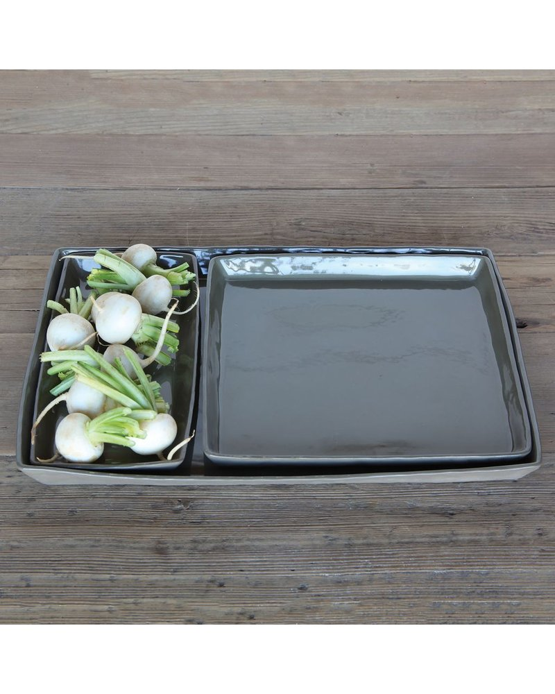 HomArt Fleet Ceramic Tray - Lrg Rect Putty