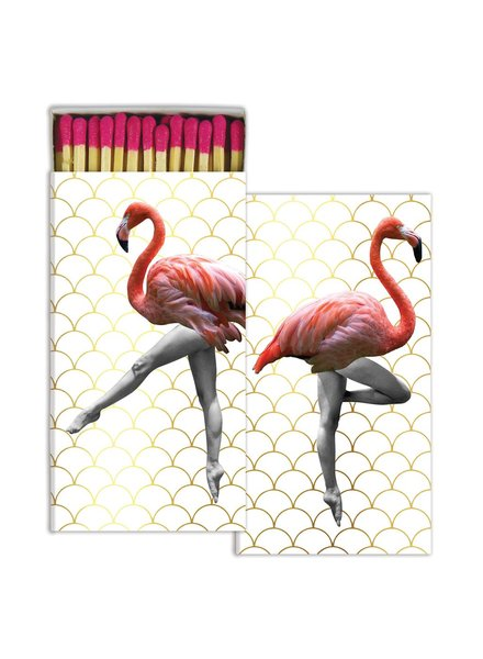 HomArt Can Can Flamingos HomArt Gold Foil Matches Set of 3 Boxes