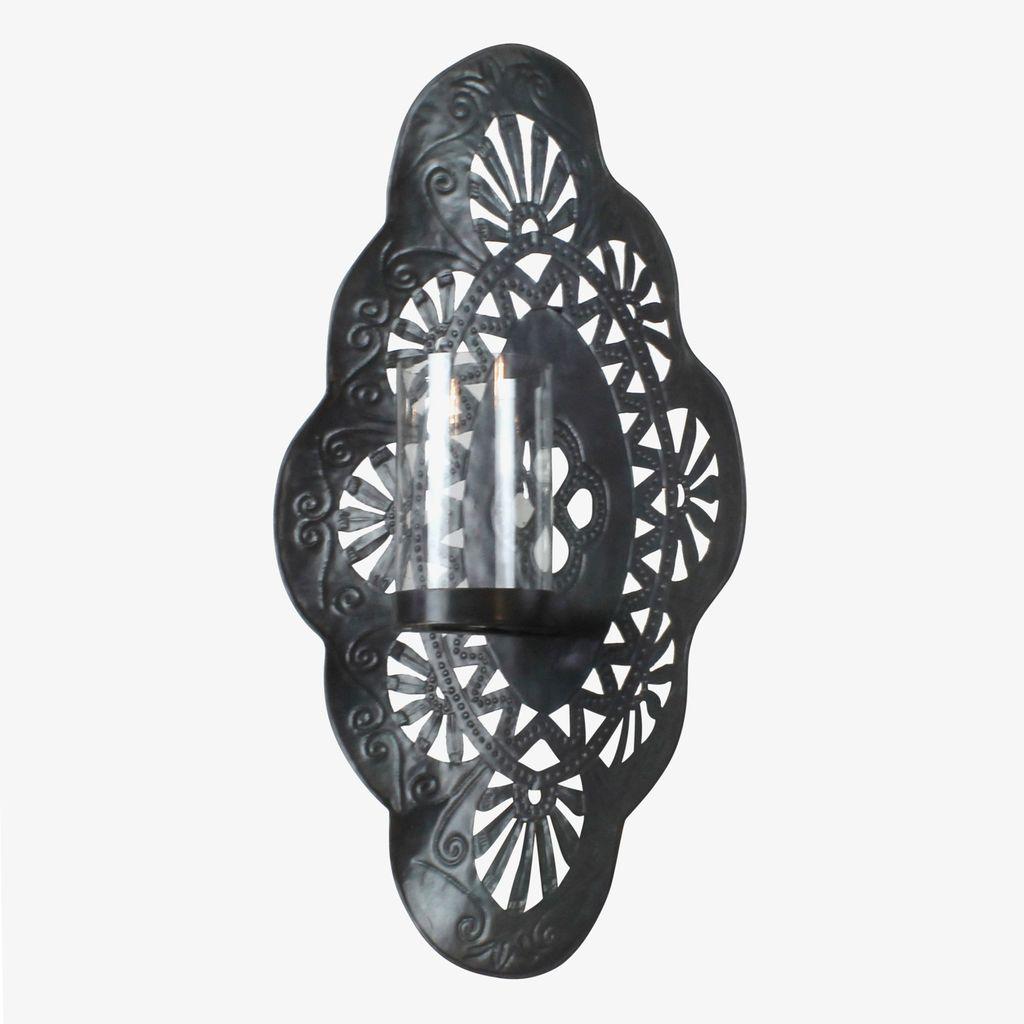 HomArt Sala Iron Wall Sconce with Glass Hurricane