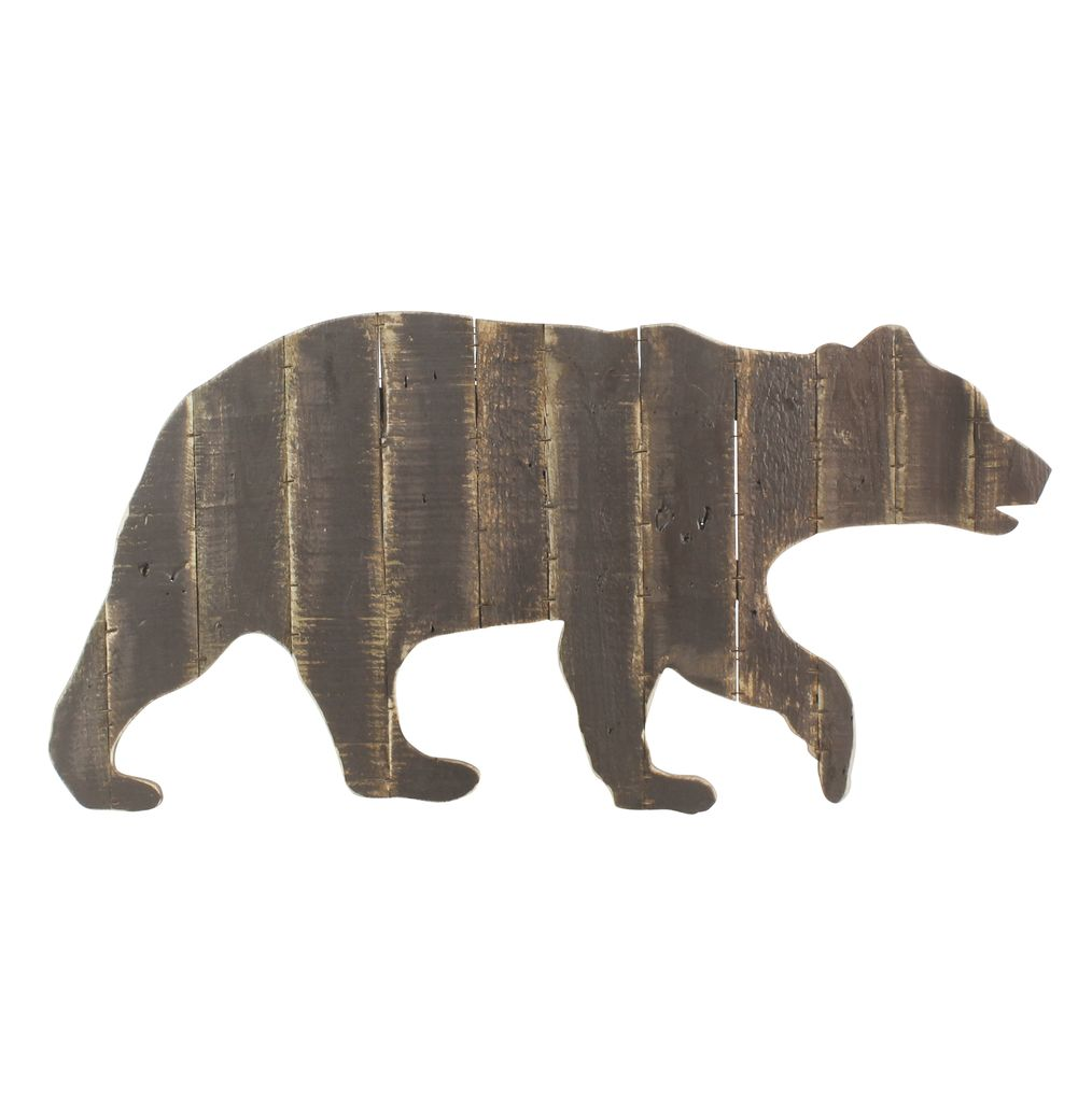 Bear Wall Art homart wood slat bear wall art - areohome