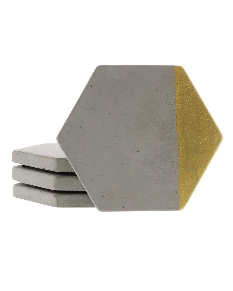 HomArt Gold Cement Coaster - Set of 4