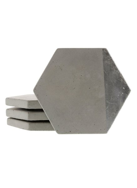 HomArt Silver Cement Coaster - Set of 4