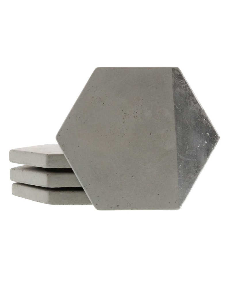 HomArt Silver Cement Coaster - Set of 4