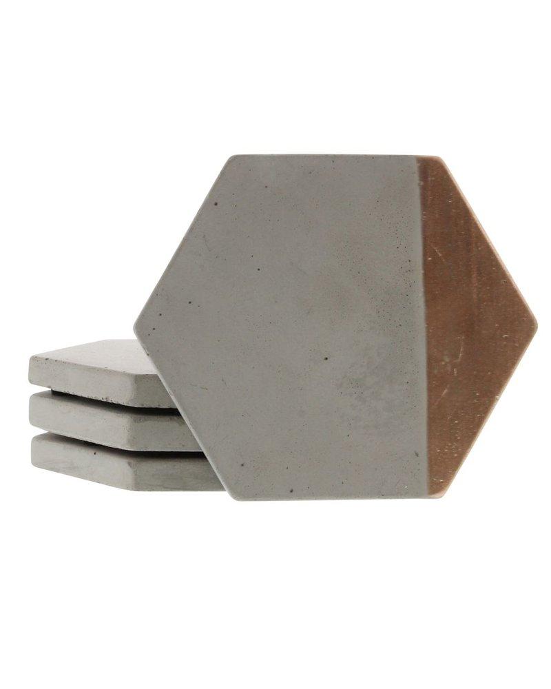 HomArt Copper Cement Coaster - Set of 4