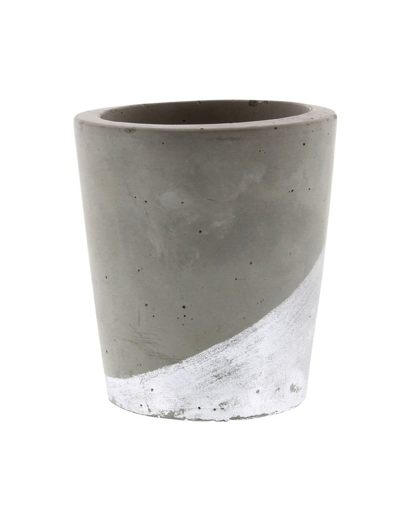 HomArt Cement Tealight Holder in Silver - Lrg