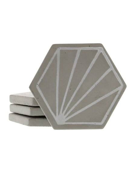 HomArt Hexagon Sunburst Cement Coaster - Set of 4