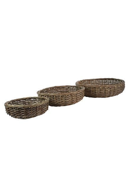 HomArt Willow Baskets Low Round - Set of 3