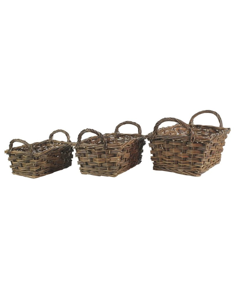 HomArt Willow Baskets Rectangle w/Handles - Set of 3