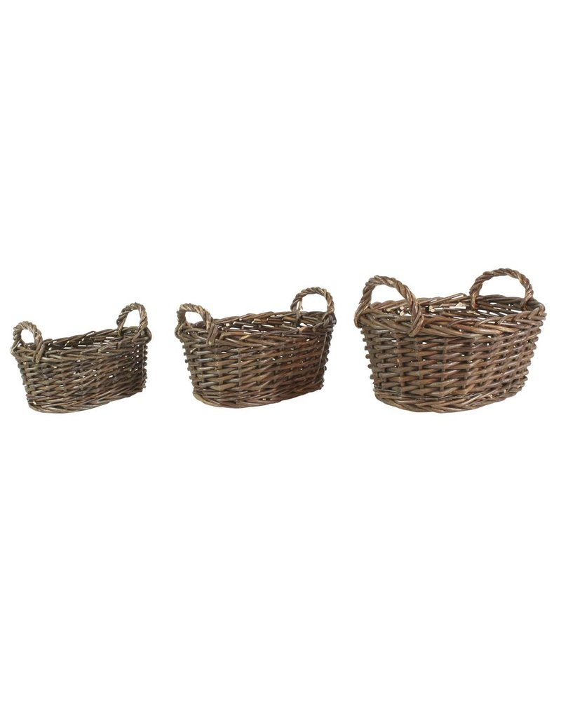HomArt Willow Baskets Oval - Small - Set of 3