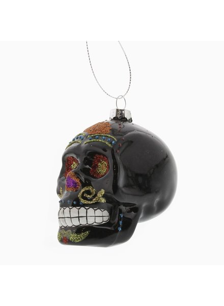 HomArt Black Sugar Glass Skull Ornament