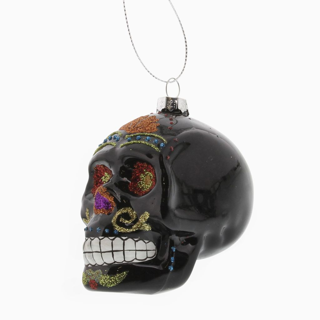 HomArt Black Sugar Glass Skull Ornament