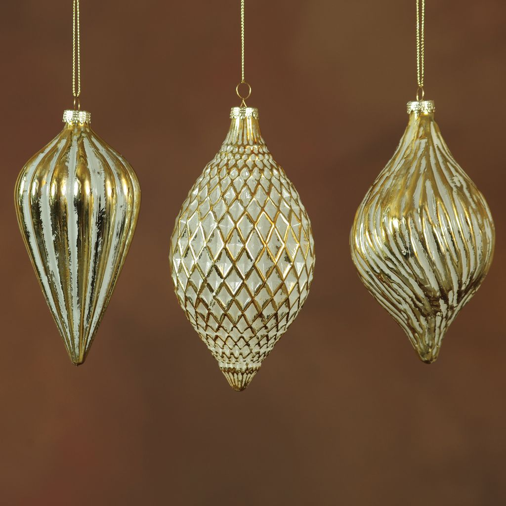 HomArt Cathedral Glass Ornaments - Set of 3 Assorted - Gold and White