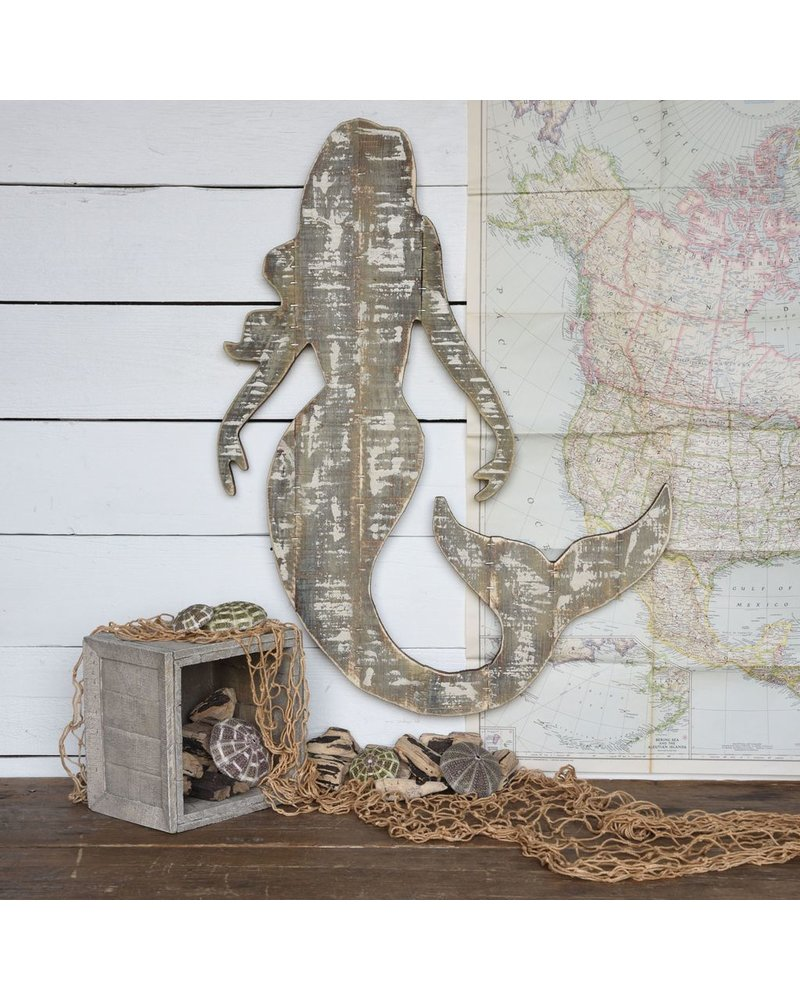 HomArt Wood Slat Sealife Mermaid Wall Art