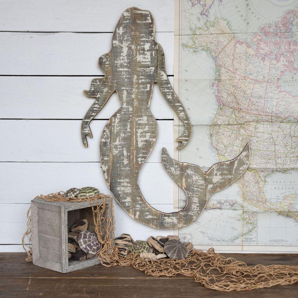 Mermaid Wall Art homart wood slat sealife mermaid wall art - areohome