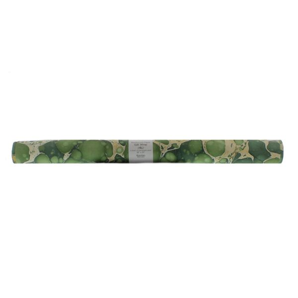 HomArt Green Marbleized Paper Gift Wrap - Roll of 6 Sheets