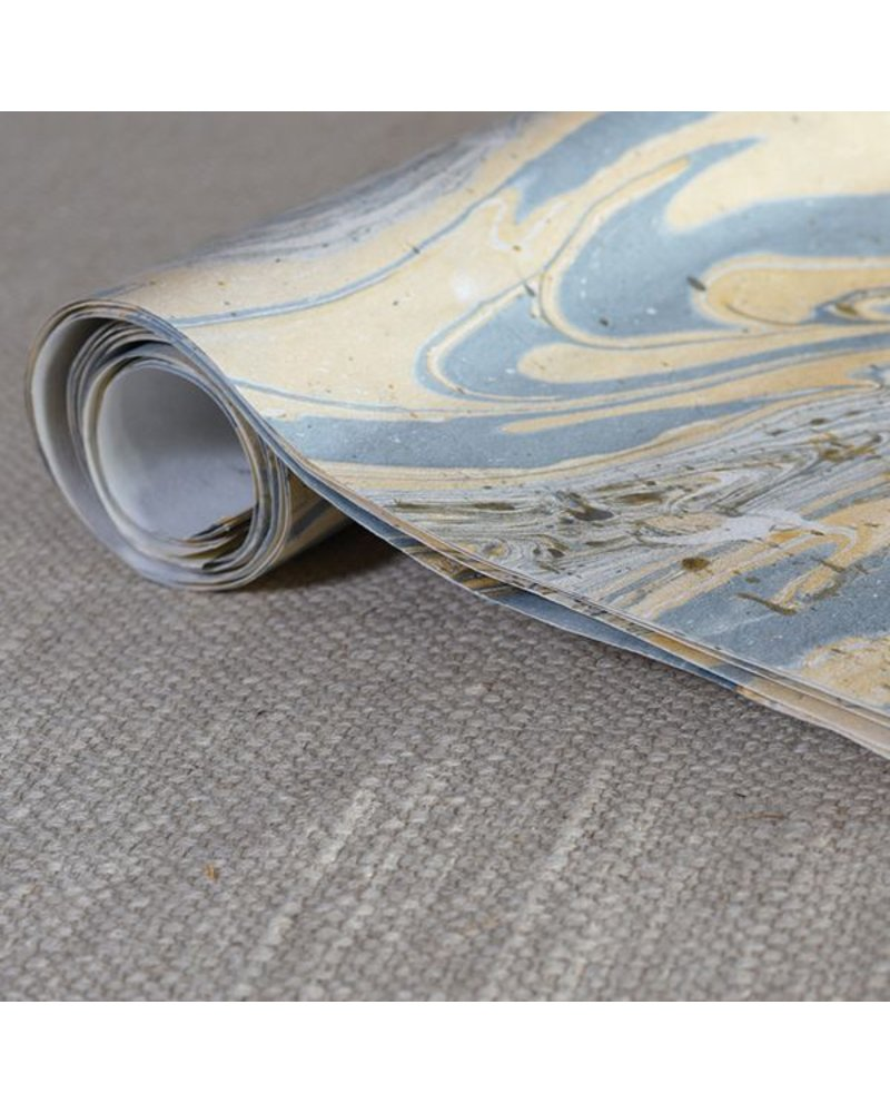HomArt Blue Marbleized Paper Gift Wrap - Roll of 6 Sheets