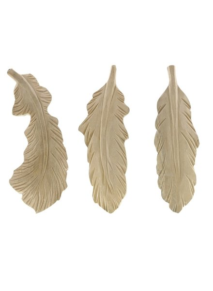 HomArt Carved Wood Feather Objects - Set of 3, Assorted