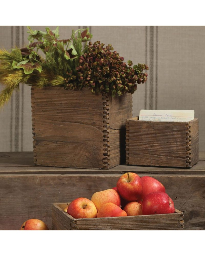 HomArt Box Joint Cement Crate - Med Light Brown Wood