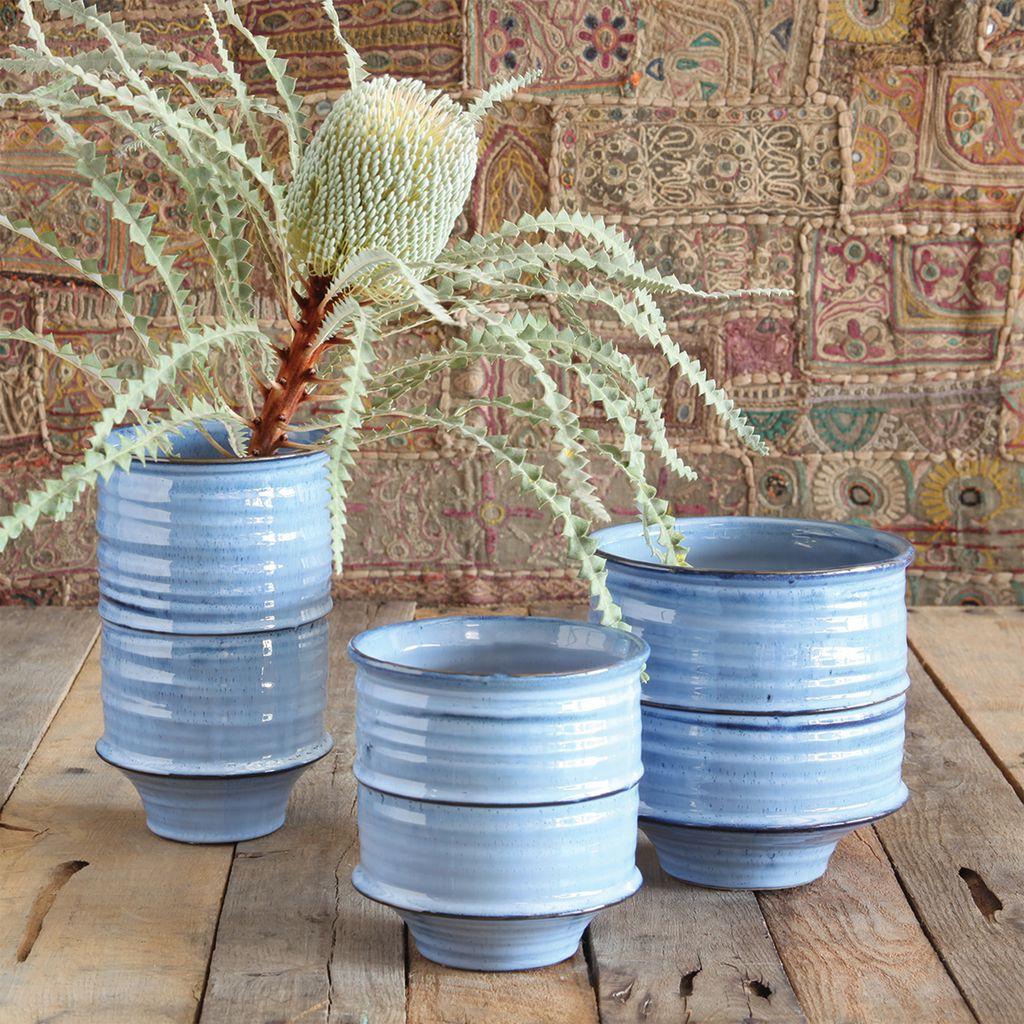 HomArt Shibori Ceramic Vase - Sm - Fancy Blue