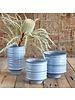 HomArt Shibori Ceramic Vase - Med - Fancy Blue