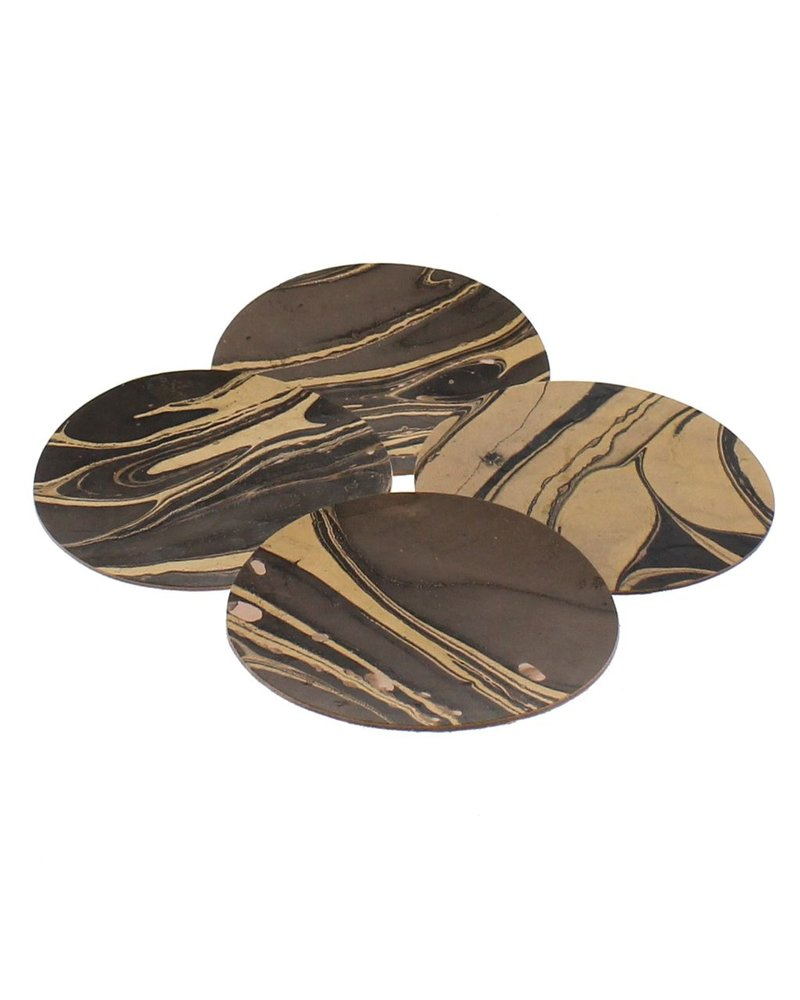 HomArt Marbleized Leather Coasters - Set of 6  Grey