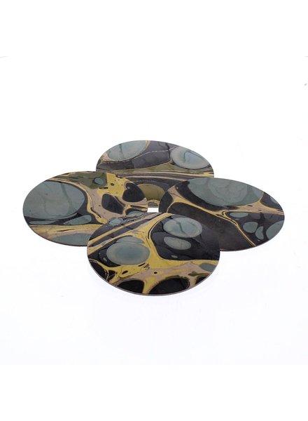HomArt Marbleized Leather Coasters - Set of 6  Aqua
