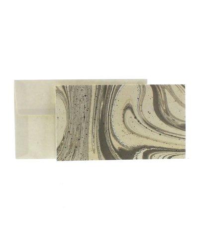 HomArt Marbleized Note Card and Envelope - Set of 10  Grey