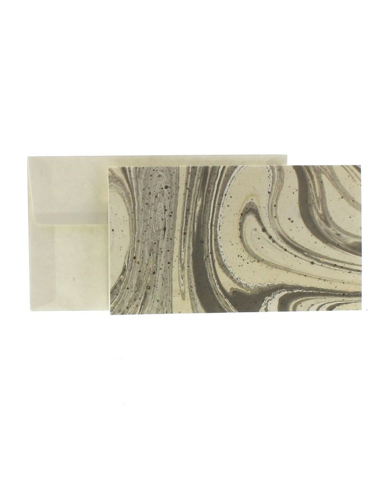 HomArt Marbleized Note Card and Envelope - Set of 10  Grey
