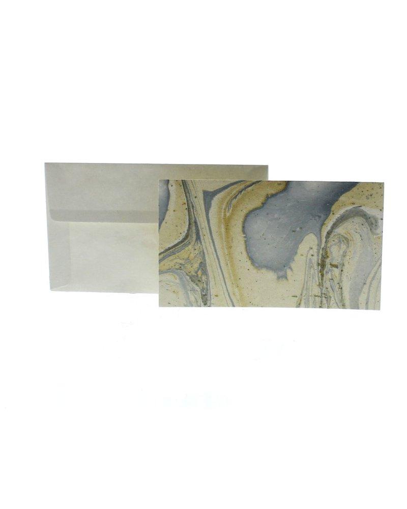 HomArt Marbleized Note Card and Envelope - Set of 10  Blue