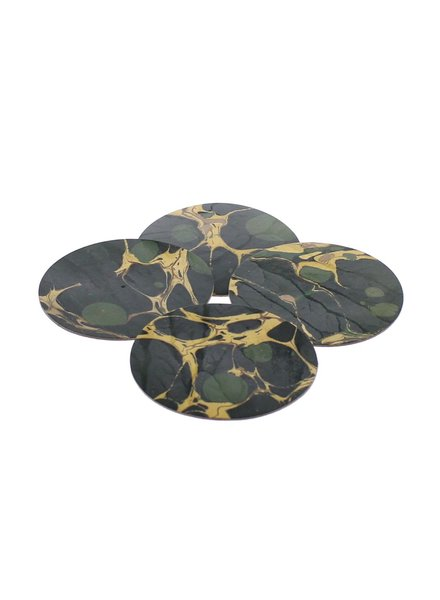 HomArt Marbleized Leather Coasters - Set of 6  Green