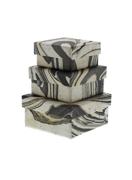 HomArt Marbleized Nesting Boxes - Set of 3  Grey