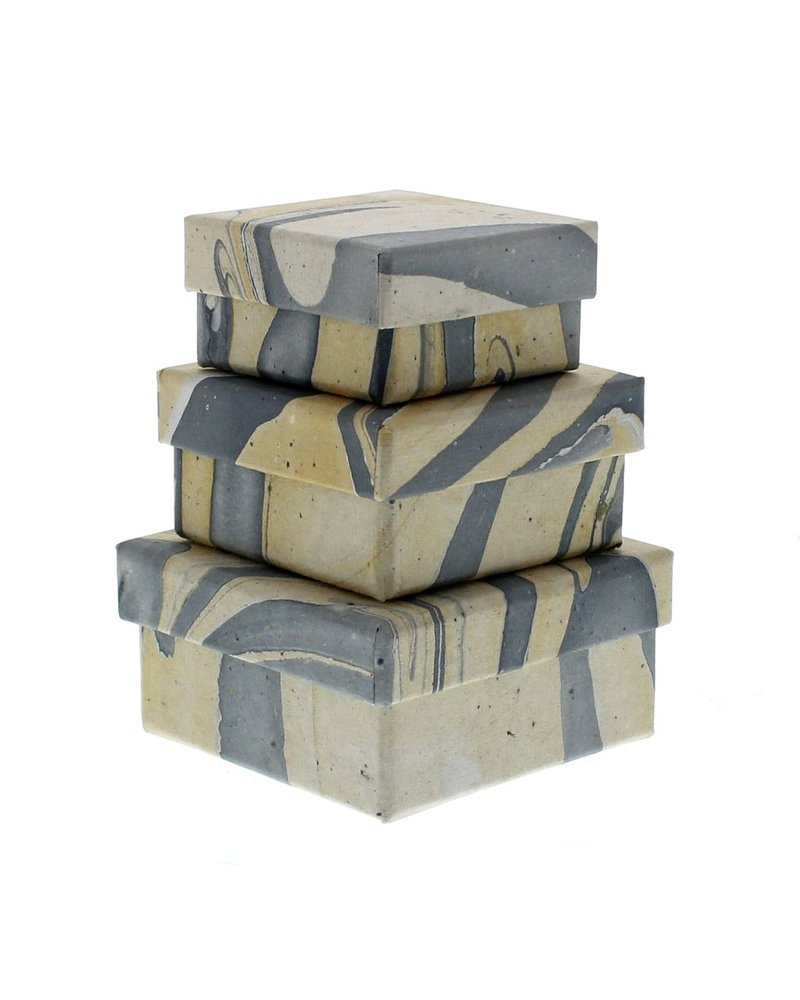 HomArt Blue Marbleized Nesting Boxes - Set of 3