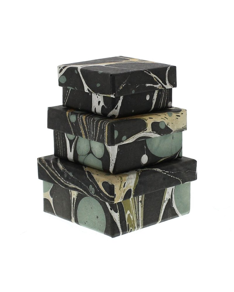 HomArt Aqua Marbleized Nesting Boxes - Set of 3