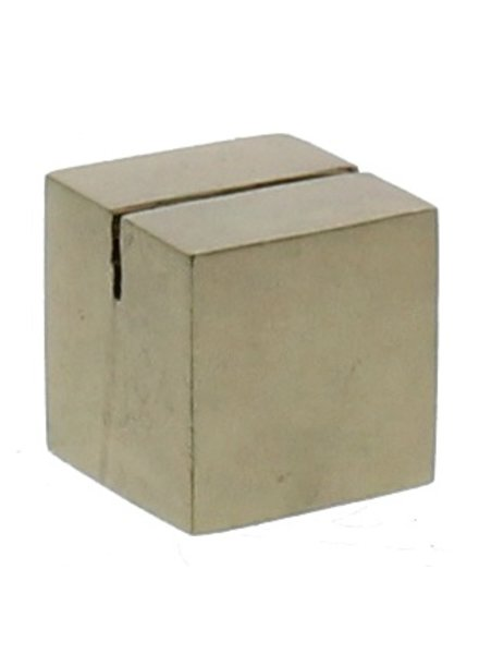 HomArt Brass Cast Iron Cube Place Card Holder