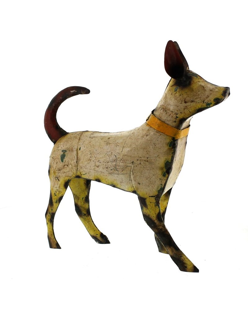 HomArt Reclaimed Metal Walking Dog - Large, White