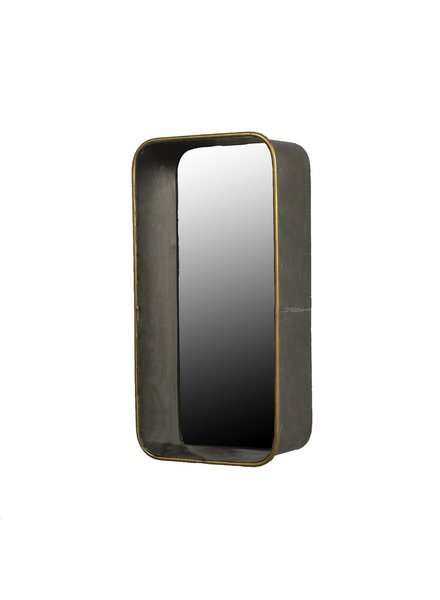 HomArt Archer Galvanized Mirror Shelf - Rect, Sm  Galvanized with Gold Rim