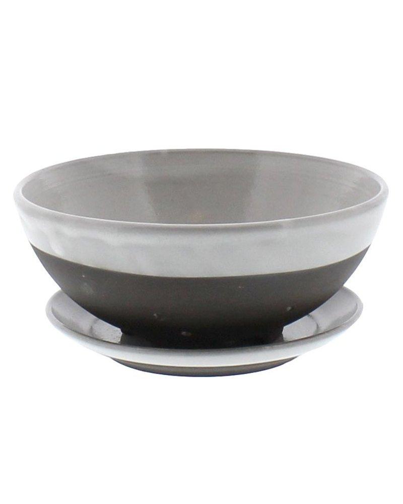 HomArt Liam Ceramic Berry Bowl & Saucer - Partial Glaze