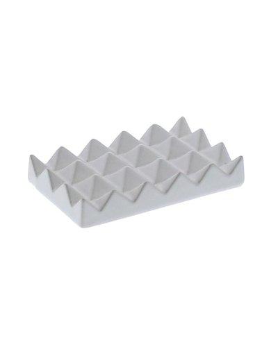 HomArt Ceramic Soap Dish - Raised Pyramid, Rectangle - Matte White