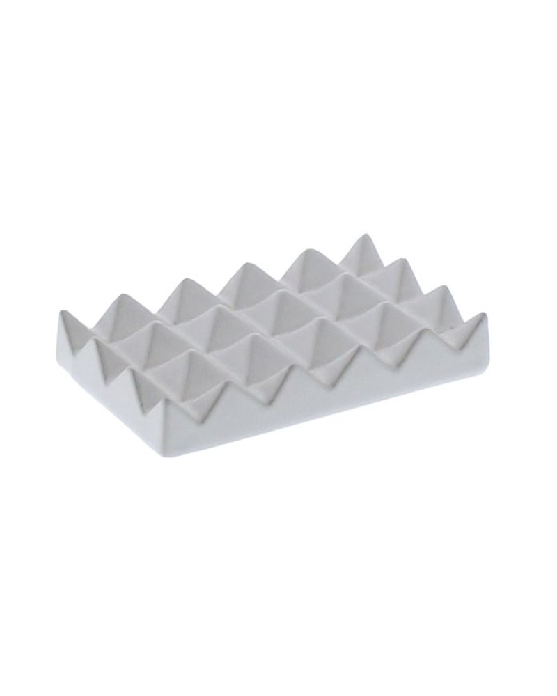 HomArt Ceramic Soap Dish - Raised Pyramid, Rectangle - Matte White
