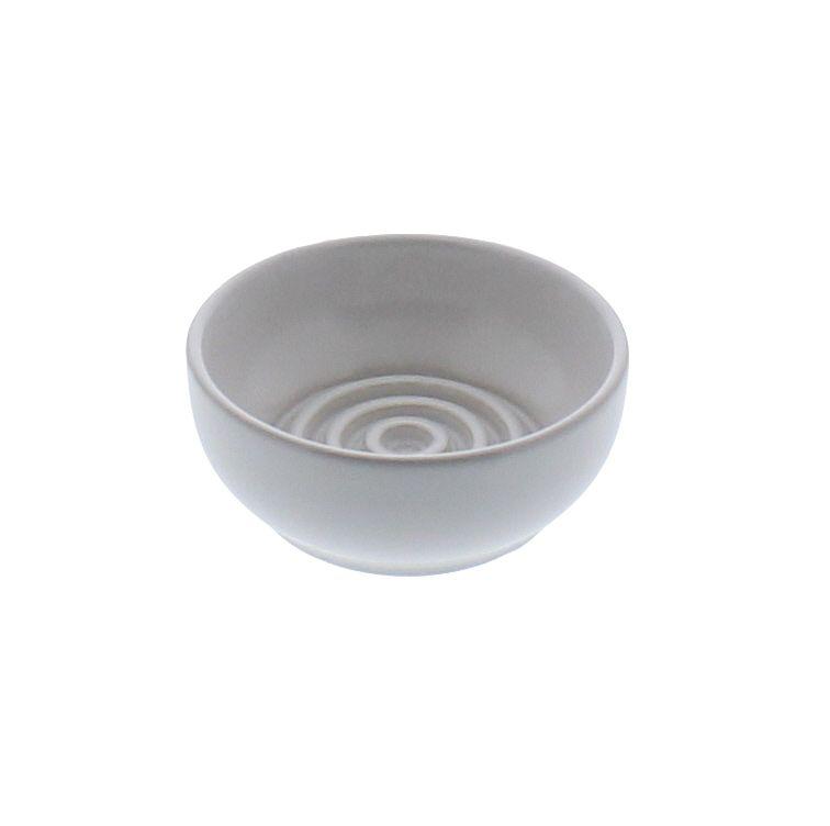 HomArt Ceramic Soap Dish - Raised Ring, Round - Matte White