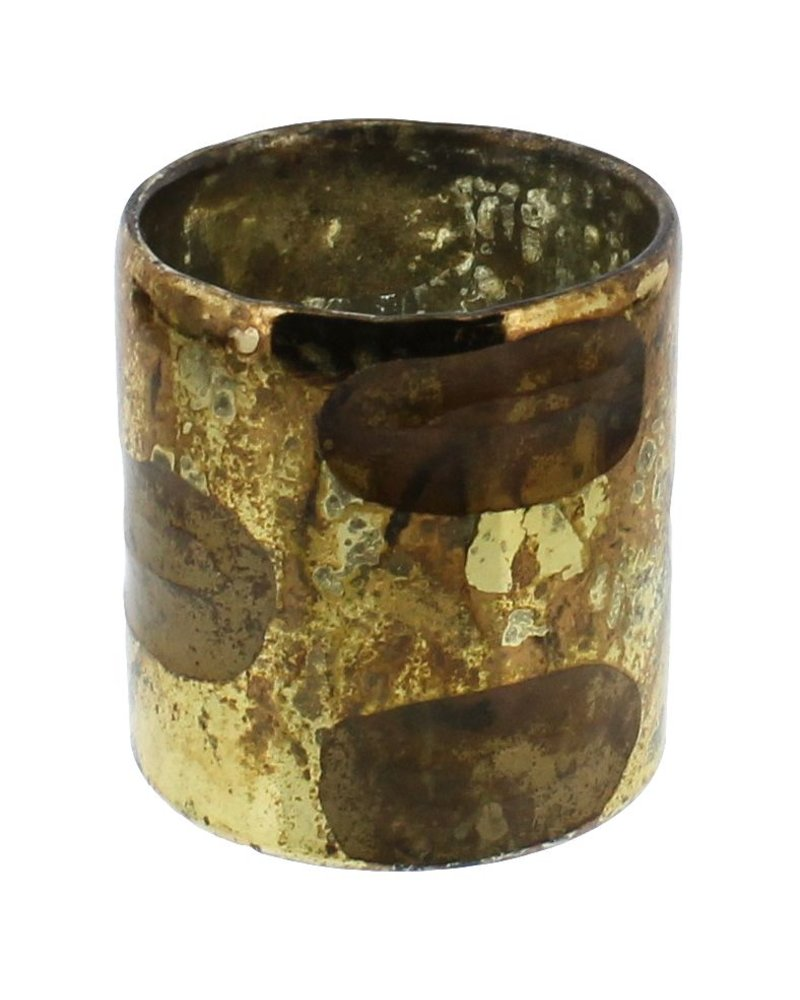 HomArt Lola Cut Goldtone Glass Vase - Sm  Shiny Gold/Copper Oxidized