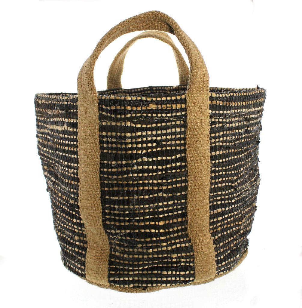 Homart Woven Storage Leather Amp Hemp Basket Areohome