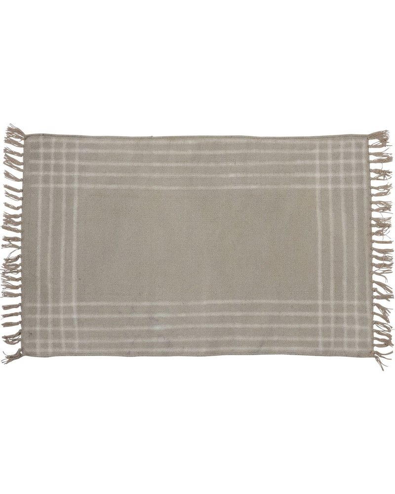 HomArt Summerset Cotton Rug, 2x3  Grey with White Stripes