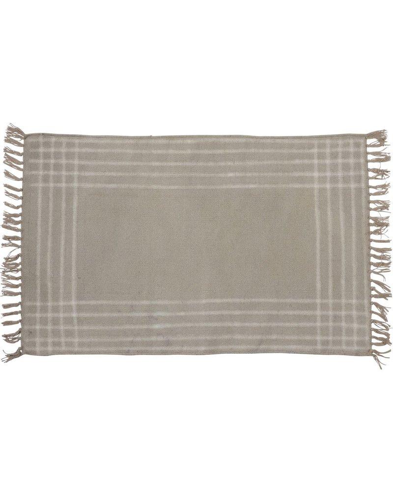 HomArt Summerset Cotton Rug, 2x3  Grey with White Stripes