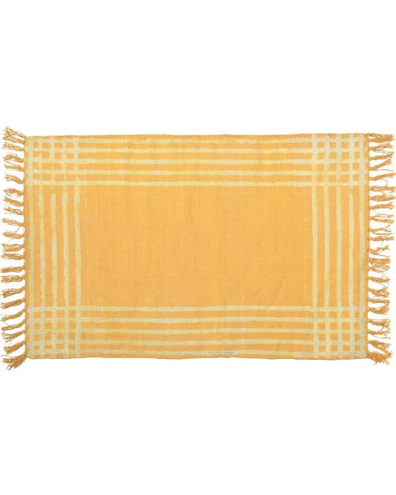 HomArt Summerset Cotton Rug, 2x3  Yellow with White Stripes