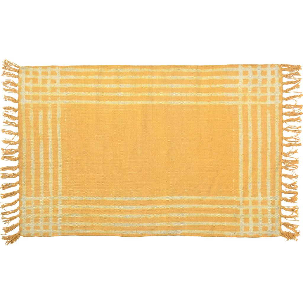Homart Summerset Cotton Rug 2x3 Yellow With White Stripes