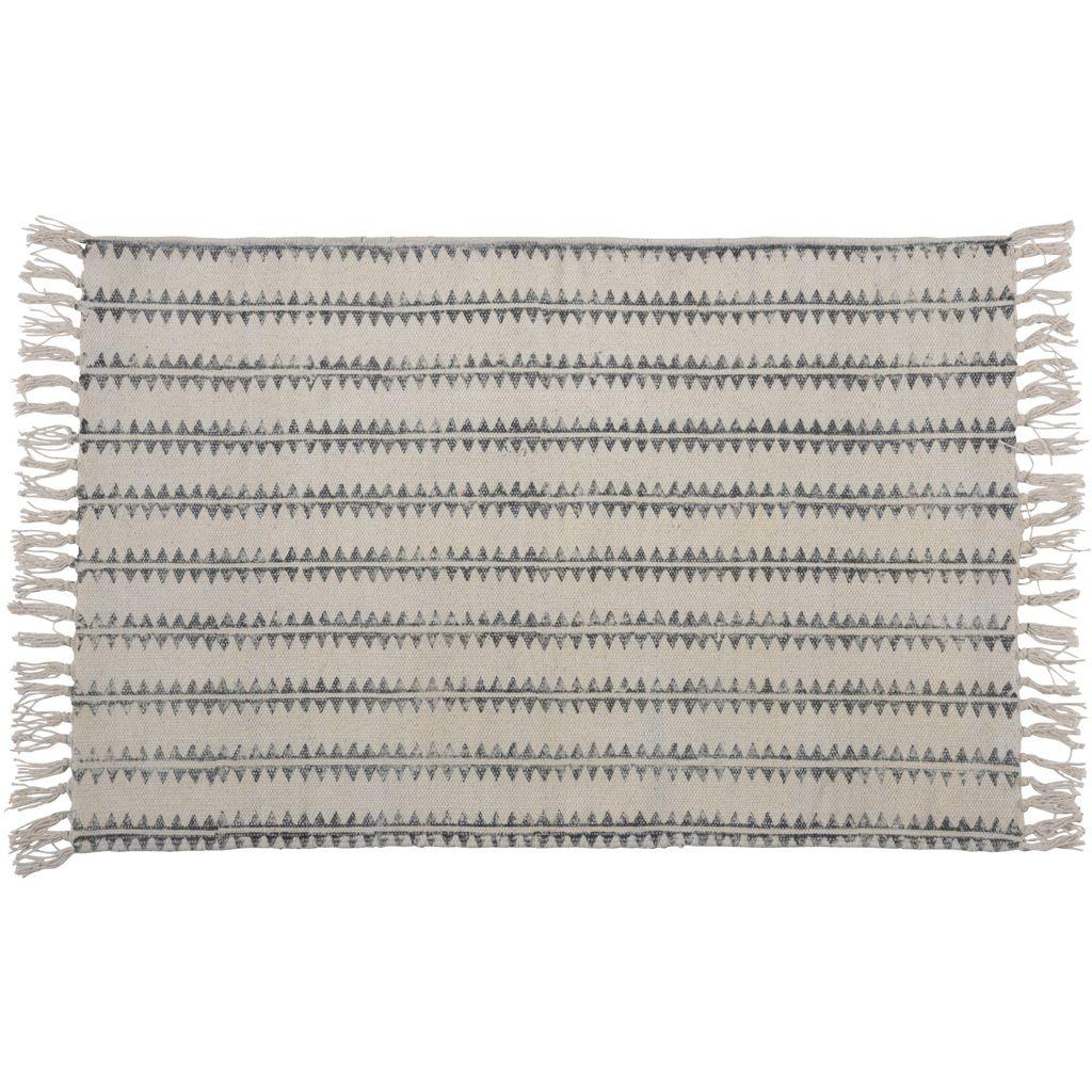 Homart Block Print Rug Cotton Rug 2x3 Sawtooth Stripe