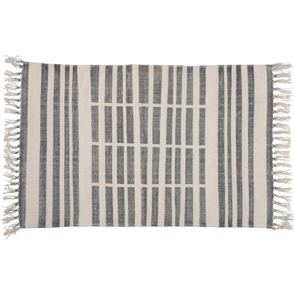 HomArt Block Print Rug Cotton Rug, 2x3 Broken Stripe